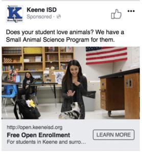 Keene ISD Facebook Ad